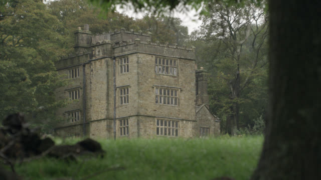 wide angle of three story upper class stone house, estate, or manor. grass field and trees. countryside. rural area. could be part of castle, crenellation on roof. - stone house stock videos & royalty-free footage