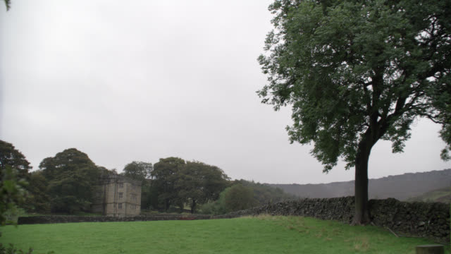 WIDE ANGLE OF THREE STORY UPPER CLASS STONE HOUSE, ESTATE, OR MANOR. STONE WALL. GRASS FIELD, MEADOW OR PASTURE. TREES. COUNTRYSIDE. RURAL AREA. RAIN. COULD BE PART OF CASTLE, CRENELLATION ON ROOF.