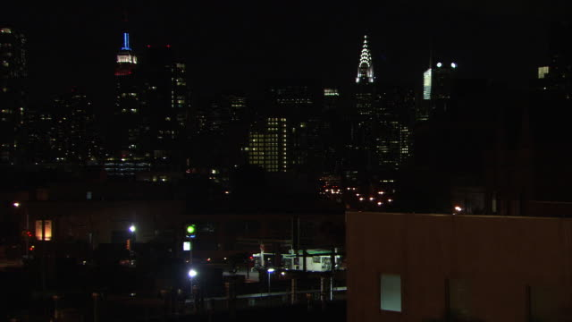 wide angle of new york city skyline. skyscrapers and high rise office or apartment buildings. midtown manhattan. empire state building and chrysler building. - manhattan stock videos & royalty-free footage