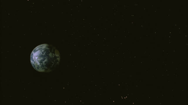 stockvideo's en b-roll-footage met wide angle of planet earth, pov from outer space. stars. - groothoek