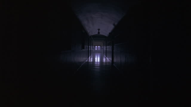 zoom in on hallway of upper class school, academy, or university. doors to classrooms visible. flashes of light at end of hallway. could be lightning. - zoom in bildbanksvideor och videomaterial från bakom kulisserna