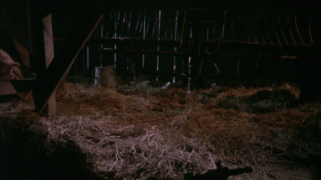 medium angle of a lantern falling to the straw floor of a barn.  the lantern smokes, but doesn't start a fire. - barn stock videos and b-roll footage