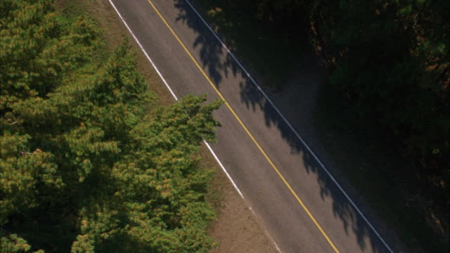high angle down of country road surrounded by woods and forests. see ford mustang convertible driving through countryside. - mustang convertible stock videos & royalty-free footage