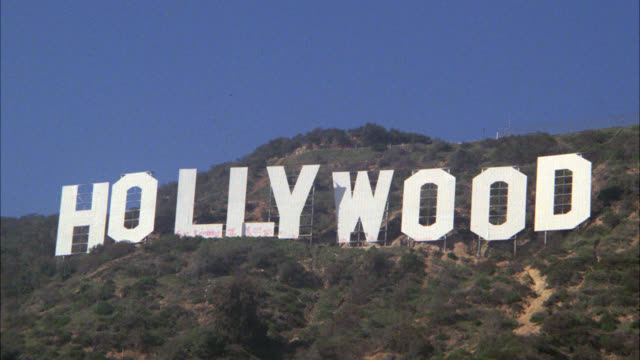 "wide angle of the ""hollywood""  sign and the hollywood hills. california. - hollywood stock videos & royalty-free footage"