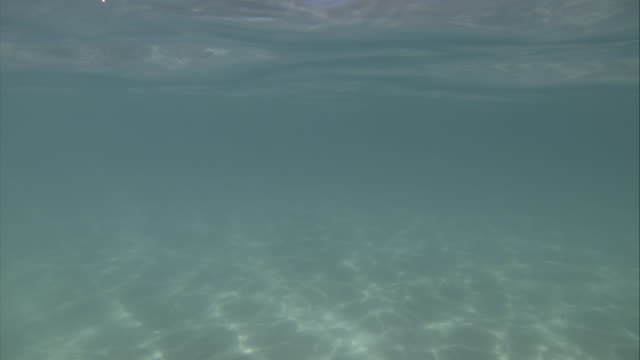 CLOSE ANGLE OF SHALLOW WATER IN OCEAN. SAND VISIBLE. CRYSTAL CLEAR WATER. BLUE SKY AND CLOUDS. MOUNTAINS, CLIFFS, OR BLUFFS IN BG.