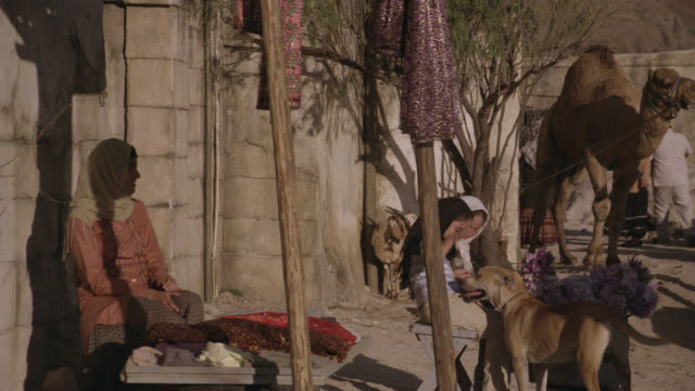 MEDIUM ANGLE OF MIDDLE EASTERN MARKET PLACE. WOMEN WEARING HIJAB HEADWEAR. PEOPLE CARRY SACKS AND BASKETS. CAMELS TIED UP. CLAY OR STONE HOUSES IN BG. DUST OR DESERT. CHILDREN PLAYING WITH STRAY DOGS.
