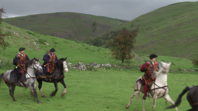 wide angle of renaissance royal guard or entourage of soldiers, riding on galloping horses and carrying flags. could be royal escort or procession. trees, grass, hillside or meadow. overcast sky. - ルネッサンス様式点の映像素材/bロール
