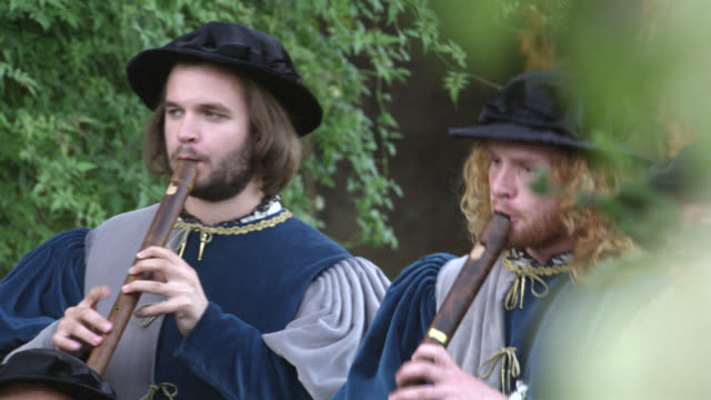 pan right to left of band of renaissance musicians playing instruments. upper class people, nobility, gentry or royalty walking through gardens. could be celebration or party. - stereotypically upper class stock videos & royalty-free footage