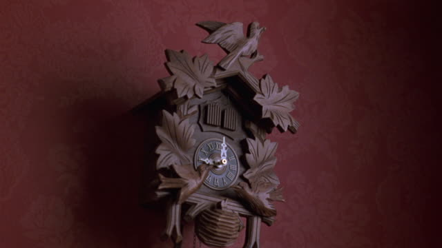 medium tilted side angle establish of cuckoo clock on red wall. see hands on 3:00. see right door on top of clock open. see white bird pop out. see wooden birds at bottom of clock shift back and forth. - cuckoo stock videos and b-roll footage