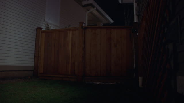 up angle of wooden fence on side of house. camera from backyard of house. see grass on ground and lattice frame right. see red car crash into fence and drive through and towards left side of camera. see broken planks of wood on ground. - fence stock videos & royalty-free footage