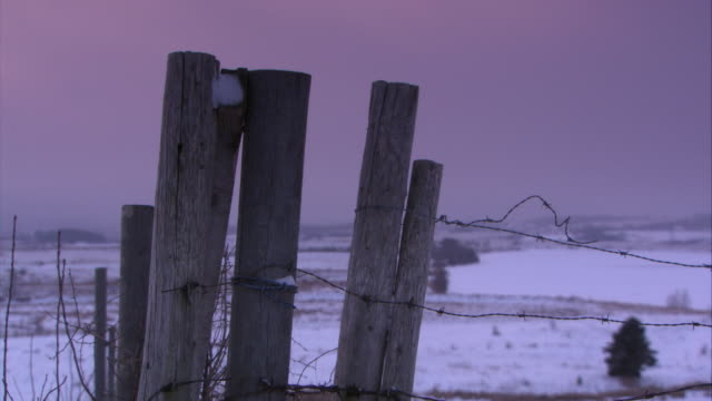 close angle of wood poles and barbed wire. could be fence. farmland or countryside in bg covered with snow. could be field. winter. - barbed wire stock videos & royalty-free footage