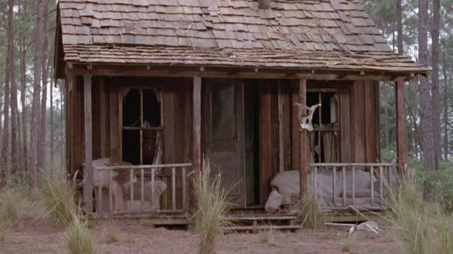 vidéos et rushes de medium angle establish of rundown, lower class shack or cabin in forest. smoke begins coming from inside house and starts pouring outside. could be before fire. - cahute