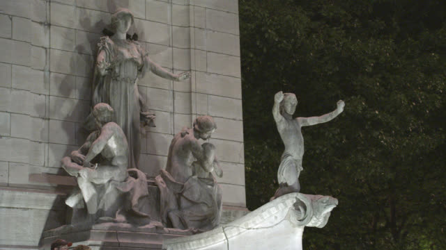 MEDIUM ANGLE STATUES OR SCULPTURE ON TOP OF FOUNTAIN IN CENTRAL PARK.