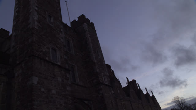 up angle of knole castle in sevenoaks, kent. could pass for tower of london. stone castle. - tower of london stock videos and b-roll footage