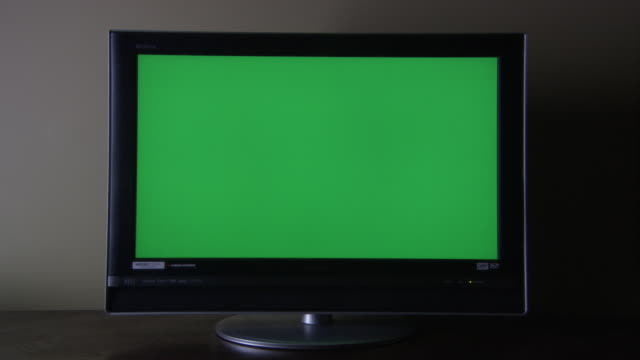 MEDIUM ANGLE OF SONY TELEVISION OR COMPUTER MONITOR SITTING ON DESK. SCREEN OF MONITOR, DIGITAL DISPLAY OR LCD IS COMPLETELY GREEN. SEE WHITE WALL BEHIND AND BLACK DESK BELOW.