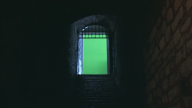 UP ANGLE OF STONE STAIRS TO ARCHED DOORWAY. IRON BARS ACROSS ARCH. COULD BE ENTRANCE TO CELLAR, BASEMENT OR DUNGEON. GREENSCREEN.