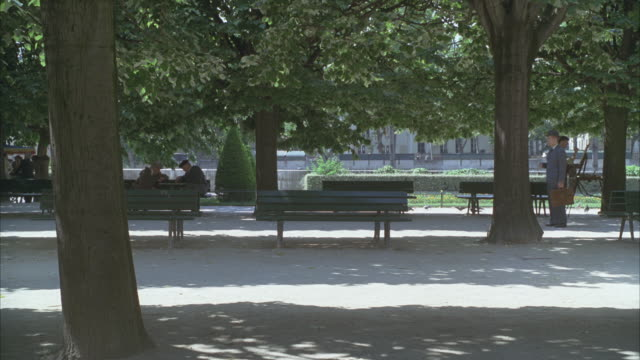 wide angle of a park with benches. could be 1940s or 1950s. two elderly men chatting on a park bench at left and a painting artist in period costume at right. pigeons, trees, shadows. - 1940 1949 video stock e b–roll