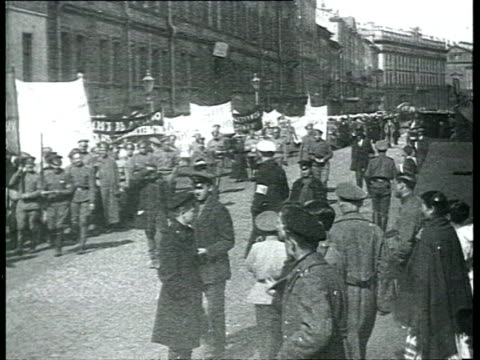 Chkheidze's Menshevik provisional government and constitution of Petrograd Soviet of Workers' and Soldiers' Deputies Demonstration of joy in...