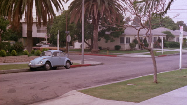 MEDIUM ANGLE OF STREET CORNER OR INTERSECTION IN MIDDLE CLASS SUBURBS. PALM TREES. BLUE VW VOLKSWAGEN BEETLE CAR PARKED ON STREET. 1940'S ERA WHITE PICKUP TRUCK TURNS CORNER TOWARD POV. BED OF TRUCK HAS EQUIPMENT IN IT. COULD BE FARM EQUIPMENT OR GARDENIN
