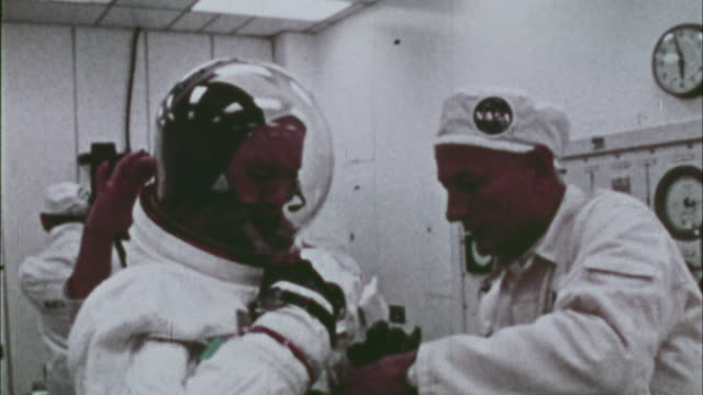 apollo 11 astronauts preparing for their flight at kennedy space center / florida usa - weltraum mission stock-videos und b-roll-filmmaterial