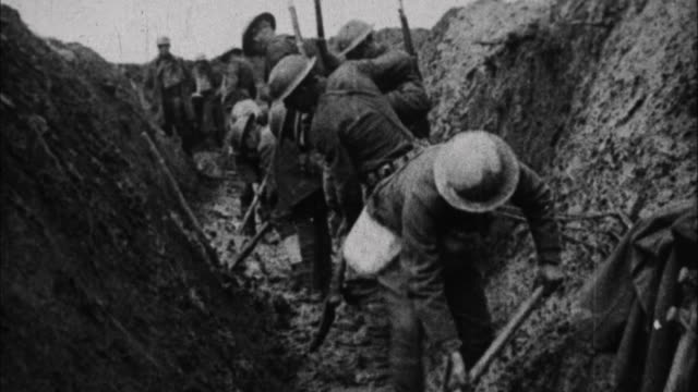 Soldiers dig trenches / France