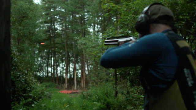 clay pigeon shooting - shotgun stock videos & royalty-free footage