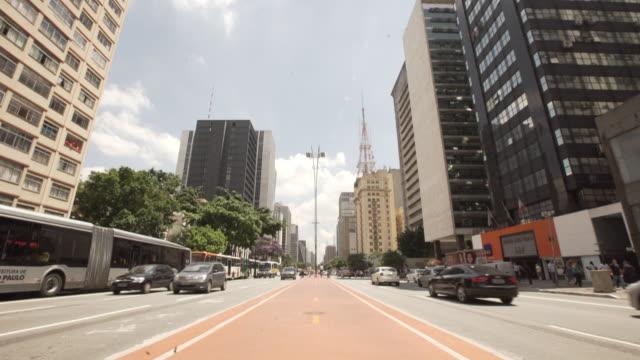 brasil - downtown são paulo - road marking stock videos & royalty-free footage