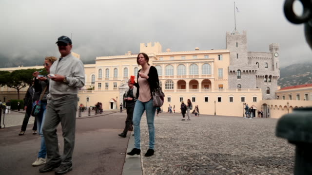 tourists at prince's palace of monaco - principe persona nobile video stock e b–roll