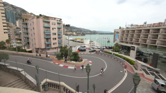 monaco road with formula one markings - monaco stock videos and b-roll footage