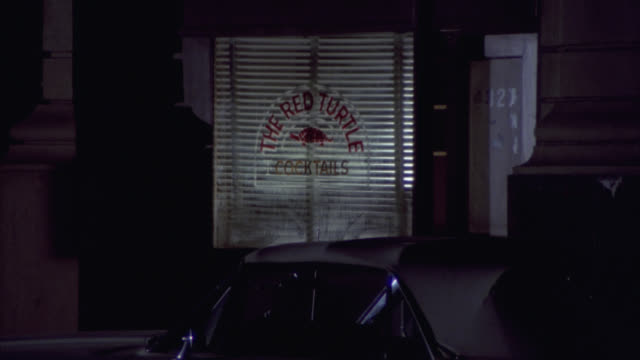 """medium angle of sign on window for """"the red turtle."""" could be bar or cocktail lounge. blinds in window. could be nightclub. - bar点の映像素材/bロール"""