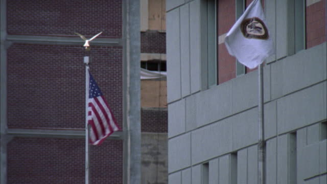 WIDE ANGLE OF AMERICAN FLAG ON POLE WITH GOLDEN EAGLE ON TOP. DEPARTMENT OF JUSTICE FLAG PARTIALLY CUT OFF ON THE RIGHT.