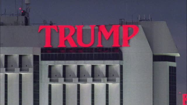 est wide angle on sign for trump resort hotel and casino in atlantic city. - atlantic city stock videos & royalty-free footage