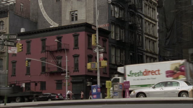 pan right to left of warehouse and apartment buildings. pans right to multi story brick apartment buildings and the tribeca grand hotel, 2 ave of the americas. - tribeca stock videos & royalty-free footage
