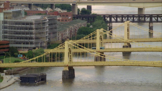 WIDE ANGLE OF THE BRIDGES OVER THE ALLEGHENY AND MONONGAHELA RIVER. PANS OVER TO THE PNC PARK STADIUM. SPORTS ARENAS.