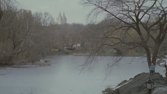 medium angle of pond or small lake in central park. trees with no leaves surrounding water. small patches of snow on rocks at base of lake. couple with child stand on rock and look at pond. san remo apartments in background. - remo stock videos and b-roll footage