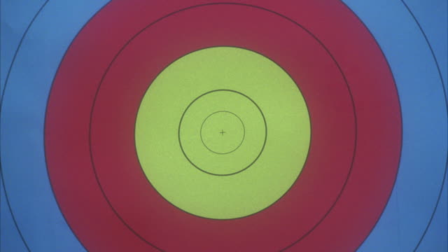close-up of archery target. arrow hits in bull's-eye. - sports target stock videos & royalty-free footage