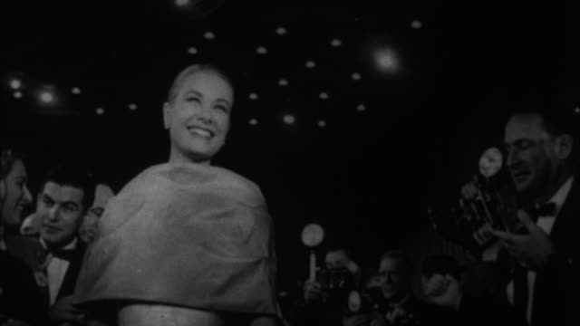 1950s b/w ms la grace kelly smiling to her fans / los angeles california usa - glamour stock videos & royalty-free footage