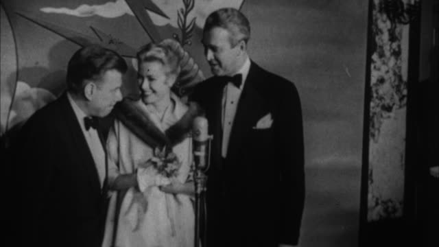 1950s b/w montage grace kelly and jimmy stewart / los angeles california usa - grace kelly actress stock videos and b-roll footage