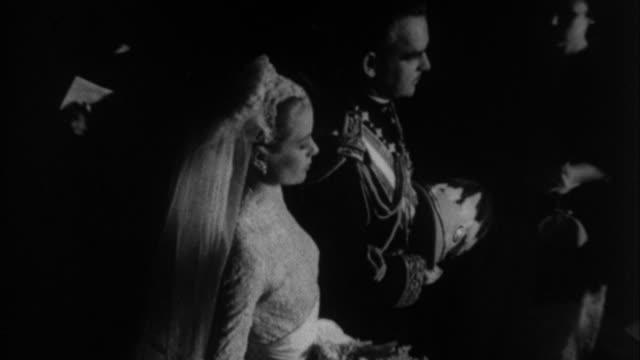 grace kelly and prince rainier iii of monaco wedding / monaco - grace kelly actress stock videos and b-roll footage