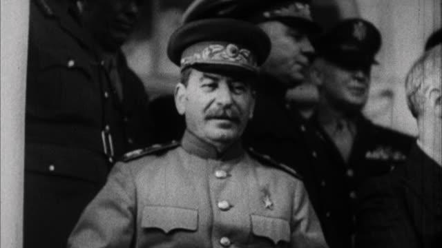 franklin d. roosevelt, winston churchill, and joseph stalin at tehran conference / tehran, iran - 1943 stock videos & royalty-free footage