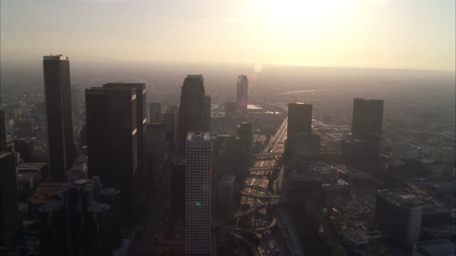 stockvideo's en b-roll-footage met aerial of downtown los angeles city skyline. high rise office buildings and skyscrapers. us bank tower visible. - us bank tower