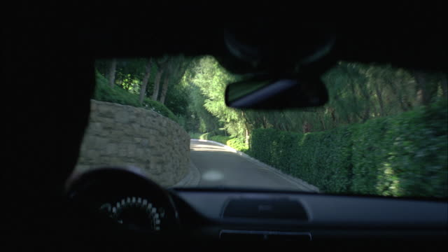 MEDIUM ANGLE OF INTERIOR OF LIMO OR CAR BEING DRIVEN THROUGH GROUNDS OF UPPER CLASS MANSION. CAR DRIVES ON ROAD AND ENTERS DARK GARAGE OR BUILDING. ESTATE HOUSE PARTIALLY VISIBLE.