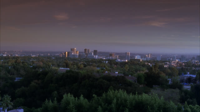 wide angle of city and skyline from mountain or hill. trees or woods visible in fg. could be century city. mountains visible in bg. - century city stock-videos und b-roll-filmmaterial