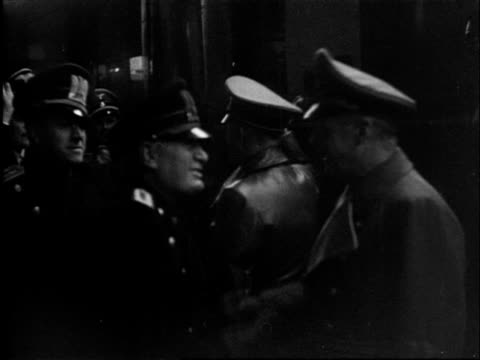 1940's b/w montage churchill preparing for war production of bullets mussolini and hitler shaking hands and marshal goring is watching military... - ammunition bildbanksvideor och videomaterial från bakom kulisserna