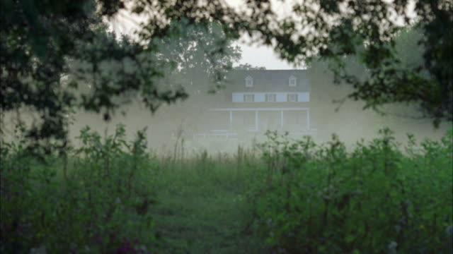 wide angle of 3 story clapboard house with porch, shutters, dormer windows in roof framed by tree branches, wild grass, plants in foreground. fog, haze, mist obscures clear view of house. colonial style, farmhouse, rural. - dormer stock videos and b-roll footage