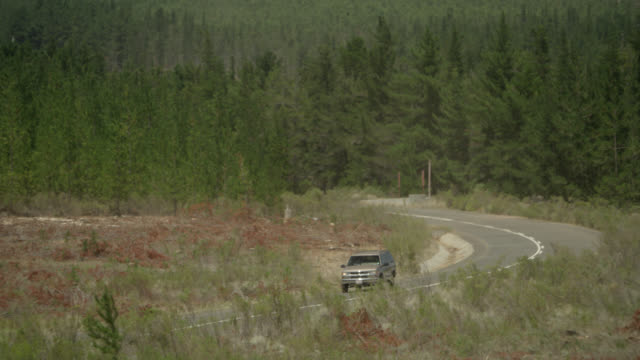 vídeos de stock e filmes b-roll de wide angle of chevrolet tahoe or suv driving on country road. woman is driving. police car follows with lights flashing, could be car chase. trees, pine trees. rural area. - 1995