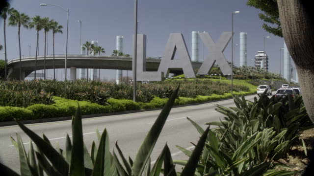 pan left to right to sign for lax airport. bird of paradise flowers and city street in fg. palm trees in bg. series. - lax airport stock videos & royalty-free footage