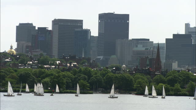 wide angle of several sailboats huddled together on the charles river in boston, massachusetts. zoom in and out to reveal boston skylines and buildings behind harbor. rippling water, cars, traffic, trees in bg. could be community boating for visitors and - river charles stock videos & royalty-free footage
