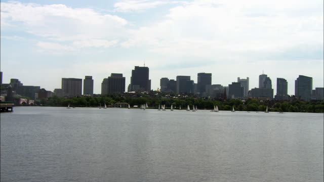 wide angle of several sailboats huddled together on the charles river in boston. pull back to reveal boston skyline. office buildings, high rises, and massachusetts state house with gold dome visible in center. harbor, riverbank. marina visible at left. c - charles river stock videos & royalty-free footage