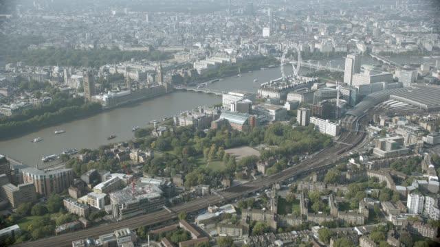 aerial of london. waterloo station, london eye, big ben, parliament, trafalgar square. - trafalgar square stock videos & royalty-free footage